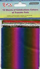 12 FEUILLES TRANSFERT FOILS célébration Couleurs RAINBOW Shimmer brillant imprimé léopard