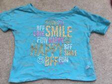 Girls JUSTICE Shirt 7 Aqua Blue Shortsleeve BTS Sparkly BFF school HalfShirt Top