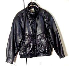 Vtg Black Leather City Streets Cafe Racer A2 Bomber Leather Jacket Sz L