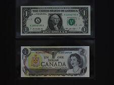 UNITED STATES & CANADA  -  SUPERB  $1  BANKNOTE PAIR   * BOTH GEM UNC *