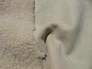 sheepskin shearling leather hide Thin Natural tight curly hair w/Nubuck back