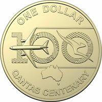 Rare Australia 2020 Qantas Centenary $1 Dollar UNC Single Coin ex Mint Roll RAM.