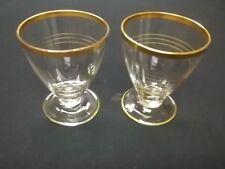 Vintage Clear Glass Gold Gilt Rimmed Stemmed Cordial Aperitif Glasses - Set Of 2