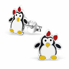 925 Sterling Silver cute Penguin bow ear stud Earrings boxed childrens gift