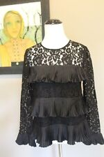 NEW J Crew Petite Lace Top with Pleats in Black Sz 00 00P XXS H3099 Sold Out