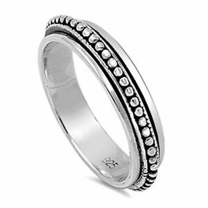Men's 5mm Sterling Silver 925 Oxidize Finish Spinner Ring Black color band