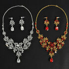 Wedding Bridal Party Crystal Rhinestone Pendant Necklace Earrings Jewelry Sets