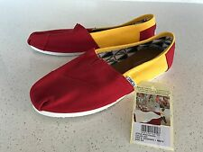 Toms USC Women's Classic Canvas Slip on Shoes RED/YELLOW Size 9.5