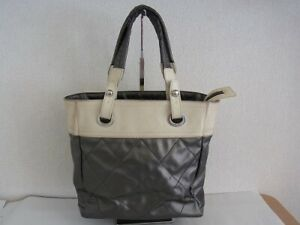 Auth XN03 CHANEL PARIS BIARRITZ tote bag PM Silver hardware from Japan