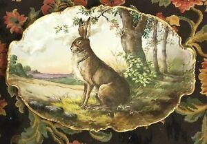 Large Handpainted Limoges Game Platter Rabbit