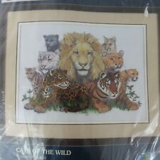 CATS OF THE WILD CHEETAH WHITE TIGER PANTHER SUNSET GALLERY CREWEL KIT
