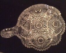 Vintage Large Cut Glass Handled Nappy Dish Kaleidoscopic Imperial Nucut Footed