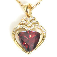 "Red Ruby Heart Diamond Halo Pendant Necklace 14K Yellow Gold Plated 18"" YR45"