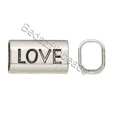 6 Big Antique Silver Affirmation Love Beads with Large 8mm Hole Plated Pewter