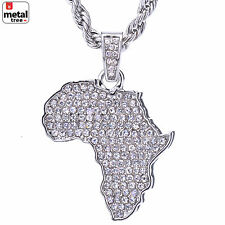 """Hip Hop Silver Plated Iced Out African Map Pendant 24"""" Rope Chain HC 1126 S"""