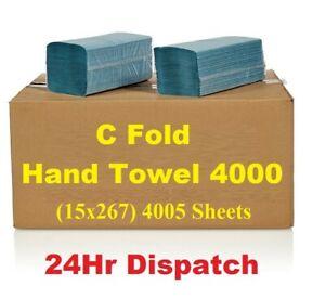 Blue Paper Hand Towels C fold 4000 tissues Multi Fold Premium Quality Single Ply