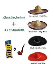 Mexican Sombrero Hat & Moustaches Party Fun Set Wild West Cowboy