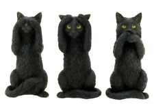 NEW black cat 3 three wise figurines statue see no speak no nemesis now cat gift