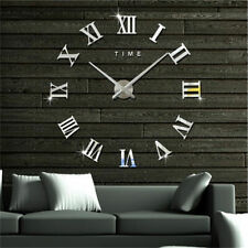 3D DIY Wall Clock Roman Numeral Mirror Sticker Home Living Room Wall Art Décor