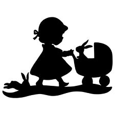 Girl Stroller Rabbits Vinyl Decal Sticker for Wall Laptop iPhone Window Car Hood