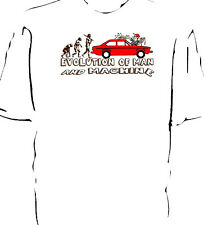 "Fiat 124 coupe classic car ""Evolution of Man and Machine - Carwash"" t-shirt"