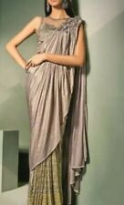 Pre Stitched Saree Gray Silver Lycra Sari Indian Wedding Wear