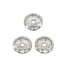 Swarovski Rondelle (10mm) Rhodium Plated Crystal F Pack of 3 (M58/14)