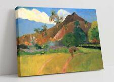 PAUL GAUGUIN, TAHITIAN LANDSCAPE -PREMIUM FRAMED CANVAS ART PICTURE PRINT- BLUE