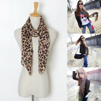Fashion Ladies Women Brown Leopard Print Scarf Wrap Chiffon Shawl Large Stole