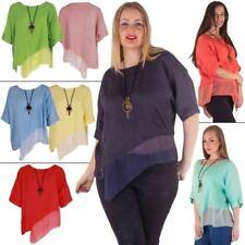 Linen Scoop Neck 3/4 Sleeve Tops & Shirts for Women