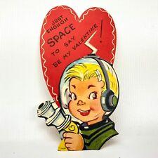 Vtg Valentines Card Atomic Ray Gun Space Boy 40s 1950s Ephemera Greeting Mcm