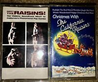 BOTH MEET THE RAISINS! & CHRISTMAS WITH THE CALIFORNIA RAISINS CASSETTE TAPES !!