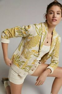 Anthropologie Maeve Pineapple Cardigan SIZE S New NWT