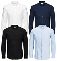 JACK & JONES Long Sleeve Shirt Mens Slim Fit Stretch Plain Smart Business Shirts