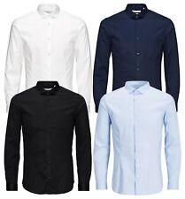 JACK & JONES Long Sleeve Shirt Mens Slim Fit Stretch Plain Smart Business Shirts