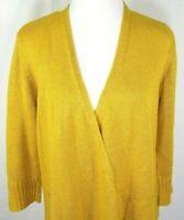 Eileen Fisher Womens Open Front Cardigan Size M Medium Gold 100% Italian Hemp
