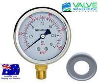 Pressure Gauge-63mm Liquid Filled SS Dial-Bottom Entry BSP-With Free Teflon Tape