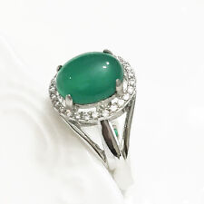 Solid 925 Sterling Silver Green Oval Jadeite Jade TRANSPARENT Solitaire Ring J23