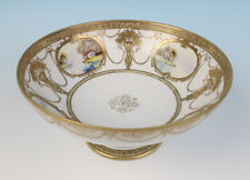 Antique Nippon Hand Painted Scenic Medallions Footed Bowl Raised Gold Noritake