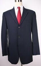 Hugo Boss Blue Striped Wool Three Button Mens Suit 42 L Jacket 36 32 Pants