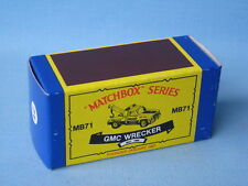 Matchbox GMC Wrecker Tow Truck Vintage Copy Empty Box Only No Model Toy Car 80mm