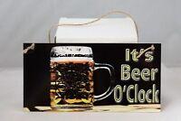 Vintage It's Beer O'Clock Pub hanging metal wall sign plaque Home bar man cave