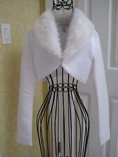 CHRISTIAN MICHELE White Wedding Bolero Jacket Shrug Faux Fur Collar Sz 2 - 4