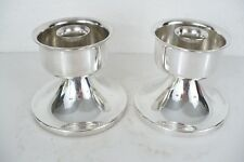 """Vintage silver plate set (2) Art Deco Candlesticks for 3/4"""" candle 3-1/4"""" tall"""