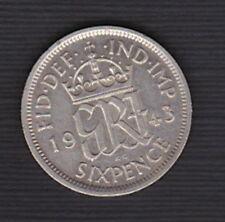 GB BRITISH - KGVI  Pre-decimal 1943 (WORLD WARII ) - Silver SIXPENCE 6d - a/UNC*