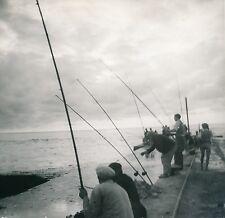 TARNOS c.1930 - Pêcheurs à la Ligne Digue Barre de l'Adour  Landes - Div 7585