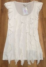 BNWT WOMENS JASPER CONRAN SCOOP NECK WHITE RUFFLE  FRILL FRONT TOP SIZE UK10!!!!