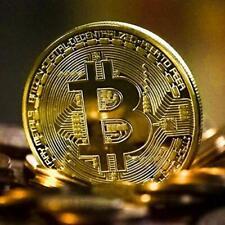 Moneta Fisica Bitcoin Color Oro Pezzo da Collezione Porta Fortuna con Custodia