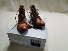 RARE ! FRYE Carson Lace up Leather  Womens Moto Boots cognac Size 8