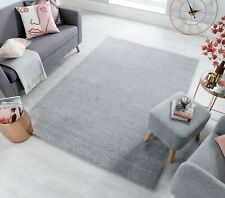 SLEEK QUALITY SOFT SMALL X LARGE THICK GREY SILVER SHAGGY RUG & RUNNER